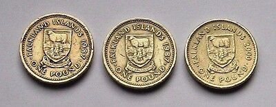 2 x 1987 & 1 x 2000 Falkland Islands Desire the Right Coat of Arms £1.00 Coins