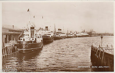 Postcard Belfast Northern Ireland view of steam ships at Donegal Quay RP