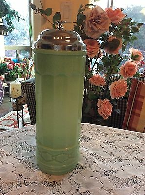 JADEITE GREEN GLASS NO TOUCH STRAW HOLDER DISPENSER Metal Lid ~ Column Design ~