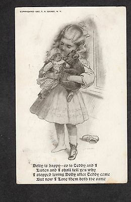 B497 postcard rare 1907 girl with doll and Teddy Bear by Gaines