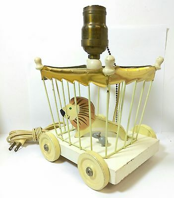 Vintage Circus Wagon Painted Metal &  Wood Caged Lion & Mouse Table Nursery Lamp