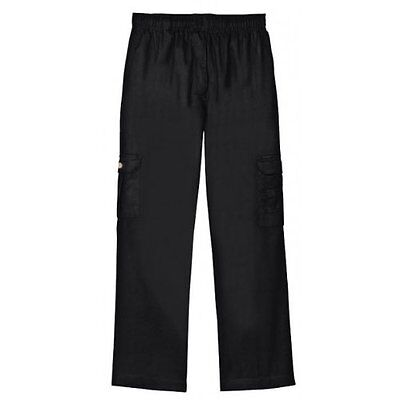 Dickies Chef Pants Large Black Drawstring Waist Baggie Cargo Pocket DCP200 New