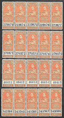 Canada Revenue Stamps -VFNH - FEG 3-7 in Strips of 5