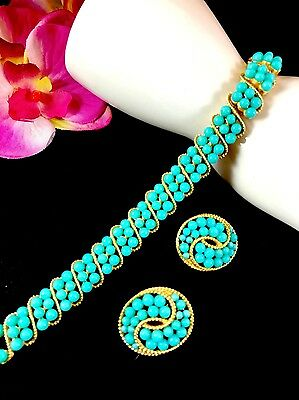 1964 Crown Trifari Goldtone Persian Turquoise Bead Samara Bracelet Earrings Set