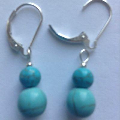 Sterling Silver Earrings Natural Turquoise Stone Interchangeable Lever back new