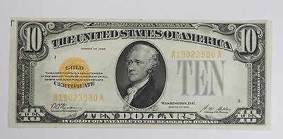 Series of 1928 $10 Gold Certificate Note EXTRA FINE Fr#2400