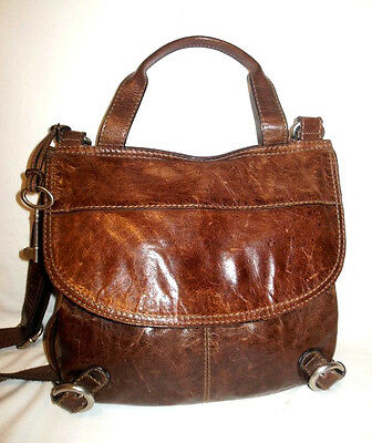FOSSIL Lizette Brown Leather Canvas Crossbody Messenger Shoulder Bag
