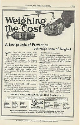 1914 Magazine Ad Pyrene Fire Extinguishers. Fire Extinguisher. Weighing the Cost