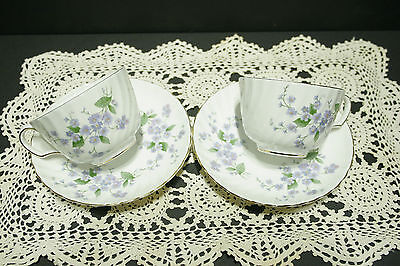 TWO SETS Adderley FORGET ME NOT Bone China Tea Cups and Saucers MINT! H1228