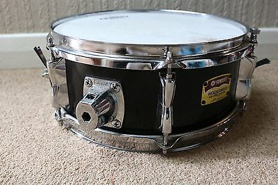 "Black Yamaha 12"" Wood Shell Snare Drum"