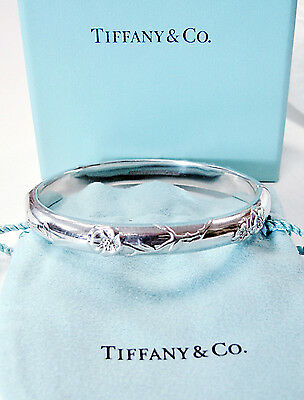 Authentic TIFFANY & CO. Sterling Silver 925 Nature Rose Hinged Bangle Bracelet