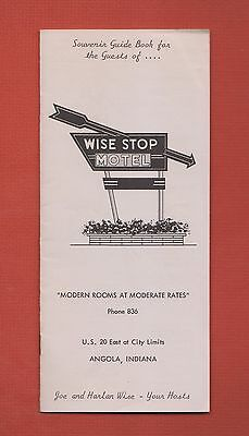 Rare 1955 WISE STOP MOTEL Booklet ANGOLA Indiana IN w/MAP, ADVERTISING,