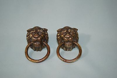Old Vintage Lot to 2 Lion Head Drawer Pulls
