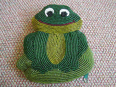 """Beaded Frog 5"""" Coin Change Purse with Zipper & Satin Lining"""