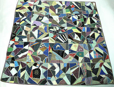 Victorian Embroidered Silk And Velvet Men's Ties Crazy Quilt With Provenance