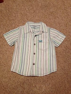 Boys Green Blue & White Short Sleeve Shirt From Pumpkin Patch Age 1 Year