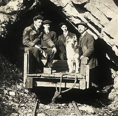 Men on Railroad Car Tracks With Collie Dog Pet Antique Early 1900's Photo