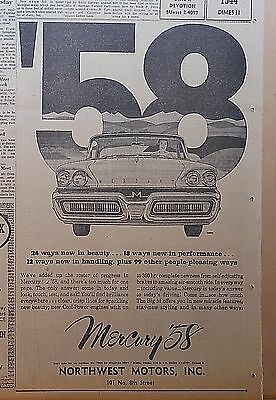 1958 newspaper ad for Mercury - 24 ways new in beauty, 18 ways in performance