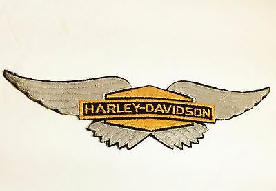 Harley Davidson Silver Wings Embroidered Patch Large Vintage 70'S SEW ON