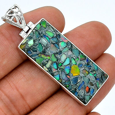 Ethiopian Opal In Pyrite 925 Sterling Silver Pendant  Jewelry PP38836