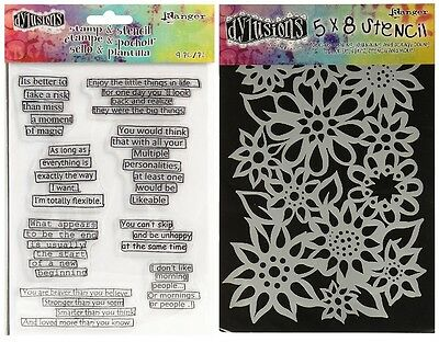 Ranger Dylusions Clear Stamp & Stencil Set - Dyan Reaveley - Quotes, Flowers