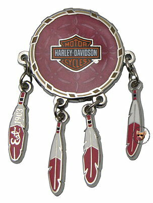 Harley Davidson Dream Catcher With Moving Feathers Vest Pin Bar & Shield 1903