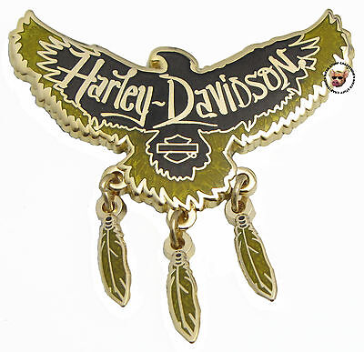 Harley Davidson Tribal Eagle Vest Pin W/ Moving Feathers Bar & Shield