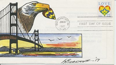 #2248 22c Love 1987 Hand Painted Wildermuth 25 made First Day cover