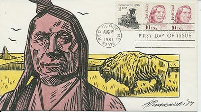 #2176 Indian Chief Red Cloud Hand Painted Wildermuth 25 made First Day cover