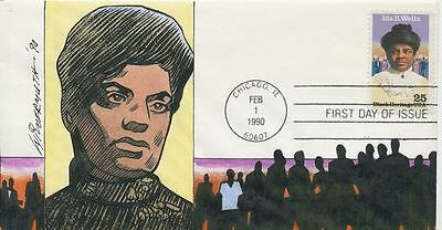 #2442 Ida B. Wells Black Heritage Hand Painted Wildermuth 25 madeFirst Day cover
