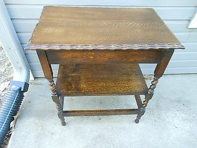 Solid Oak Barley Twist 2 Tier Side Lamp End Table Mini-Server From England