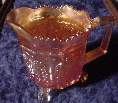 Pitcher Butterfly & Berries Berry Marigold Carnival Glass Claw Footed Ruffled