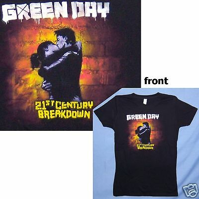 "Green Day ""21St Century"" Kiss Blk  Girls Juniors T-Shirt Large New Official"