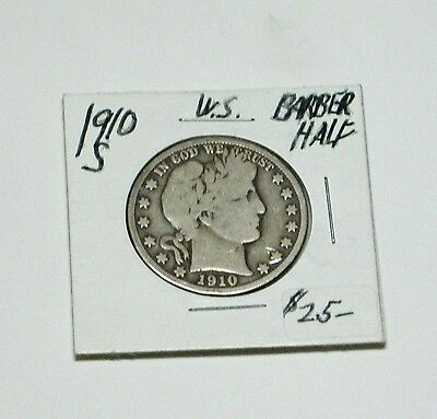 1910-S Barber Half Dollar  very good condition  value  $20.00