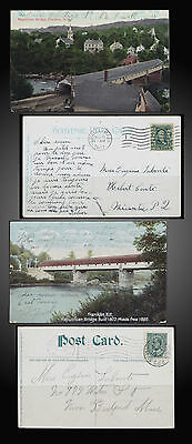 1907 United States Republican Covered Bridge New Hampshire 2 Postcard's Used