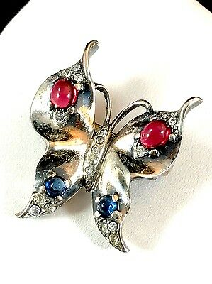 Rare 1944 Crown Trifari Sterling Ruby Sapphire Cabochon Butterfly Brooch Book