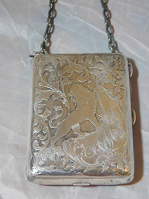 STERLING SILVER ENGRAVED ANTIQUE COMPACT CASE LION IMAGE HEAVY 9 OZs