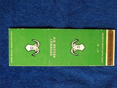 H.q. Western Command Canada Military Vintage Matchbook