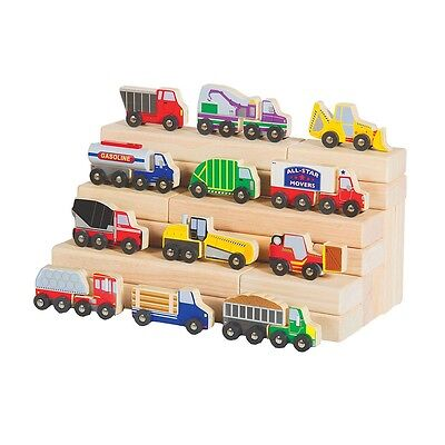 Guidecraft - Wooden Truck Collection Set Of 12