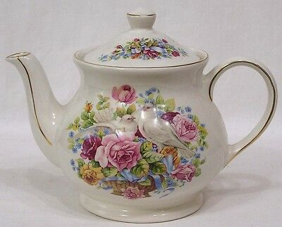 Vintage Sadler Teapot Pink Roses White Doves Windsor Made in England