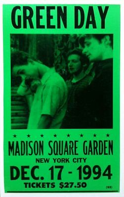 "Green Day Concert Poster - 1994 - Madison Square Garden - NYC - 14""x22"""