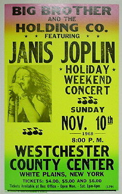 """Janis Joplin Concert Poster - 1968 w/ Big Brother and the Holding Co. - 14""""x22"""""""