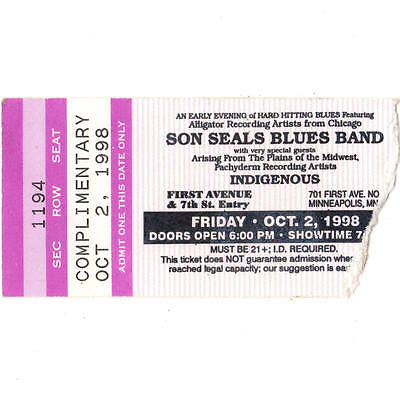 SON SEALS & INDIGENOUS Concert Ticket Stub MINNEAPOLIS MN 10/2/98 FIRST AVENUE