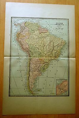 Antique Map 1886 SOUTH AMERICA MEXICO CUBA & CENTRAL AMERICA Original