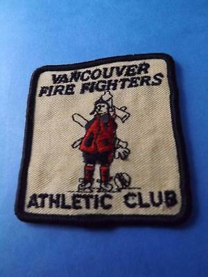 Vancouver Fire Fighters Athletic Club Patch Vintage Fire Man Canada  Collector