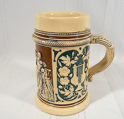 Antique Frog Inside Beer Stein German Hand Paint Stoneware MUG #1247 Westerwald