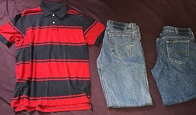 Lot of 3 Men's Clothes Size 36/30 Levi Lee Jeans Faded Glory