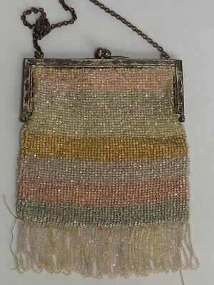 Antique 1900's Silver Tone Clasp Beaded Hand Bag w/Fringe for Display