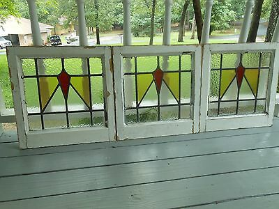 DUR-258 Older Art Deco Style Leaded Stained Glass Window F/England 3 Available