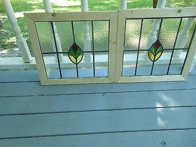 MA10-193 Lovely Older Leaded Stain Glass Window F/England Reframed 2 Available